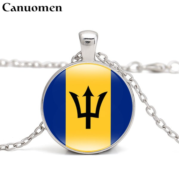 Canuomen Barbados Flag Pendant Necklace Caribbean Country Antigua and Barbuda Bahamas Jamaica I Love Hometown Men Women Jewelry