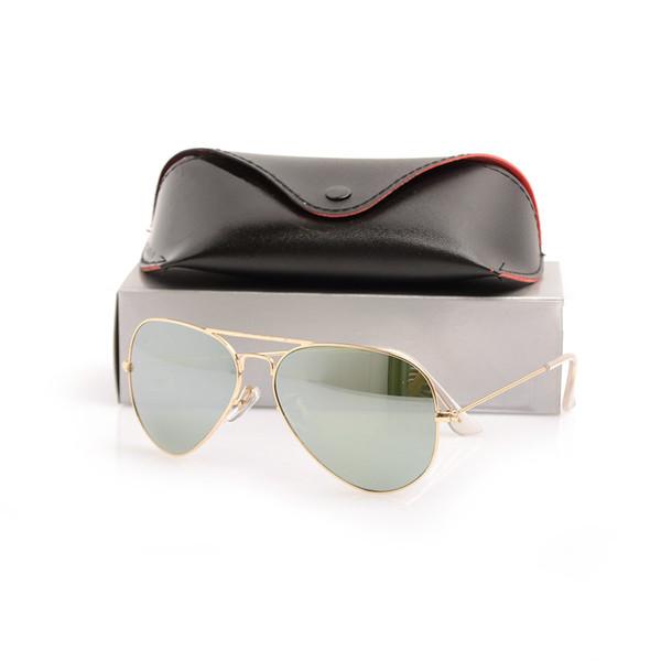 Top Quality Classic Pilot Mens Mirror sunglasses Glass Lens glasses Unisex sunglasses Womans sun glasses Brand Designer glasses With Boxs