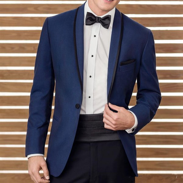 2018 Two Piece Blue Wedding Suits Groomsmen Tuxedos Black Shawl Lapel Business Men Suits Custom Made (Jacket+Pants+Waistband)