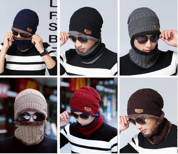 Nouveaux enfants hommes femmes chapeau + écharpe mis mode hiver chaud bonnet et écharpes costume couleur unie tricoter des foulards anneau