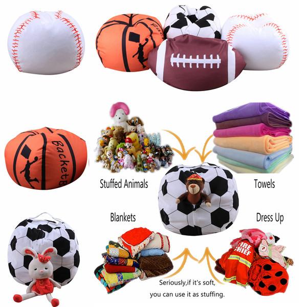4 Disegni 18 pollici Ball Bean Bag Calcio Basket Baseball Sacchetto di fagioli di stoccaggio Bambino farcito peluche Sacchetto del sacchetto Organizzatore Beanbag Sedia AAA225