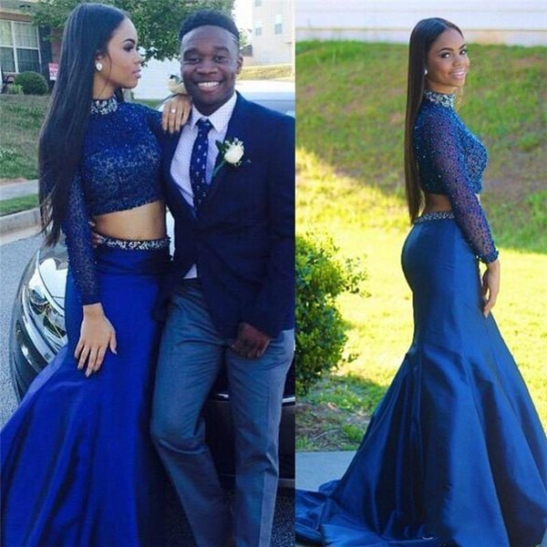 Royal Blue Two Piece Prom Dresses Long Sleeves High Neck Full Pearls With Sash Evening Party Gowns