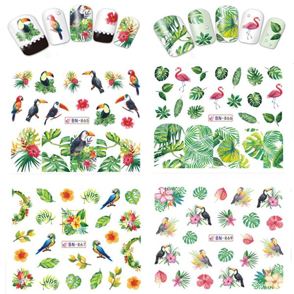 1pc Nail Sticker Green Tropical Plant Cactus Flamingos Water Slide Nail Art Stickers Tattoo Decals Manicure BN865 Drop Shipping