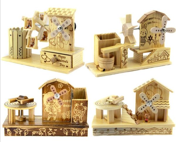 Portacandele all'ingrosso regalo di compleanno di carillon creativo Creativo decorazione di scatola di legno di arte artigianato fabbrica diretta del mulino a vento