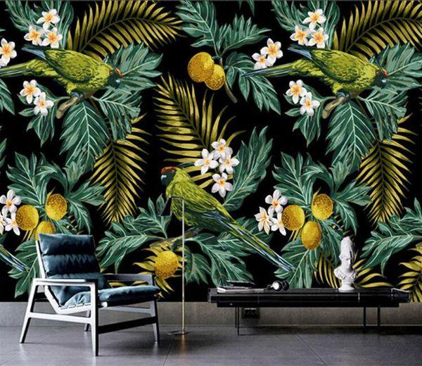 Compre Custom 3d Mural Tropical Rain Forest Parrot Hoja De Coco Pintura De Pared Sala De Estar Tv Fondo De Pantalla Wallpaper Papel De Parede Sala A