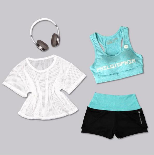 Mulheres correndo yoga 3 pcs terno esporte t-shirt + sutiã + shorts feminino ginásio jogging esporte conjunto