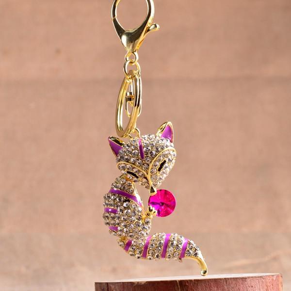 Vintage Zinc Alloy Metal Chain Diy New Design Animal Keyring Fox Keychain Rhinestone Jewelry Enamel Llavero 3D Fox Charm Crystal