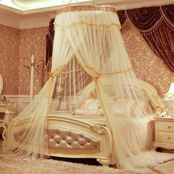 Yellow Elegant Round Lace Insect Bed Canopy Netting Curtain Dome Mosquito Net 2017 New House Bedding Decor