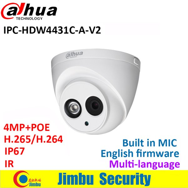 Dahua 4MP dome camera IPC-HDW4431C-A-V2 replace IPC-HDW4431C-A IR Mini Camera POE Built-in MIC cctv network multiple language