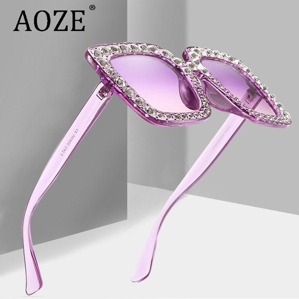 Four-frame super large frame candy color sunglasses diamond sunglasses without falling diamond quality marine ocean lens
