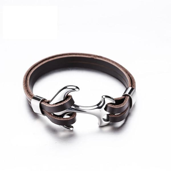 Freies DHL 10 Styles Männer Stilvolle Armband Klassische Personalisieren Geschenke Woven Anker Edelstahl Armband Leder Seil Armreif Schmuck G799F
