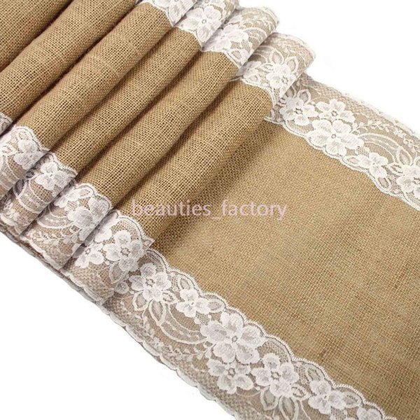 180cm Table Runner Jute Burlap with White Lace Country Wedding Party Linen Home Decoration New Free Shipping 5pcs /lot