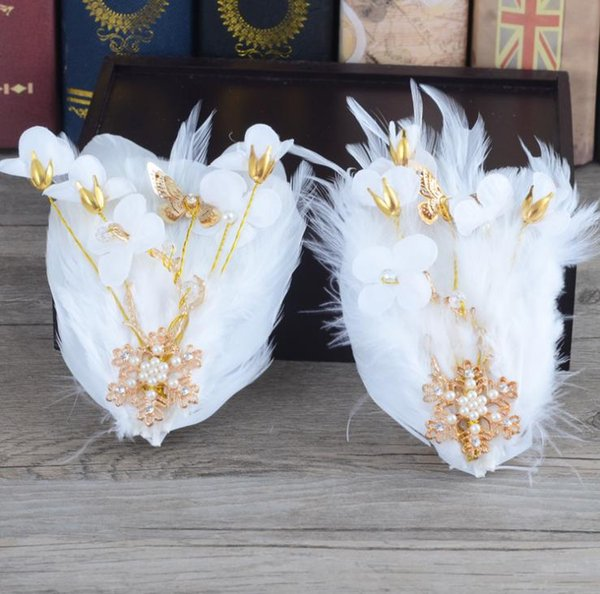 Bride golden feather wedding headwear Gold Butterfly Wedding Dress with accessories hairpin side clip