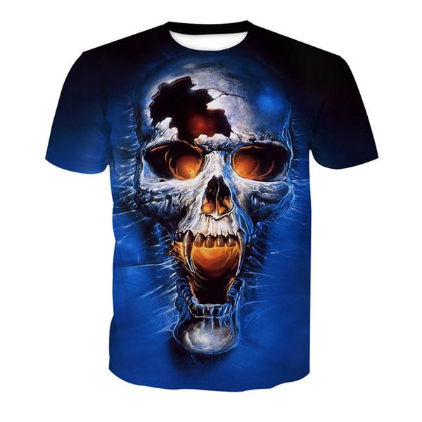 Wholesale Free Shipping Fashion Design 3D Skull Tiger Digital Printed Men Fashion T shirt Tees 6XL
