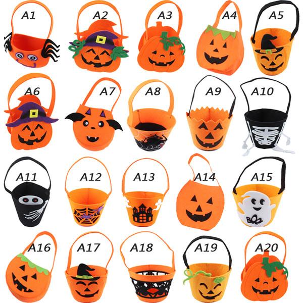 26 Arten Halloween Lächeln Kürbis Tasche Dekoration liefert tragbaren Vlies Süßigkeiten Geschenk Taschen Kinder Spielzeug Dekor Requisiten verkleiden sich Zubehör