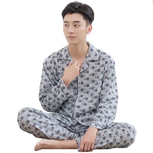Spring Summer NEW Men 2PCS Sleep Set Casual Sleepwear Cotton Nightwear Long Sleeve Pajamas Pyjama Suit Plus Size 3XL Home Wear