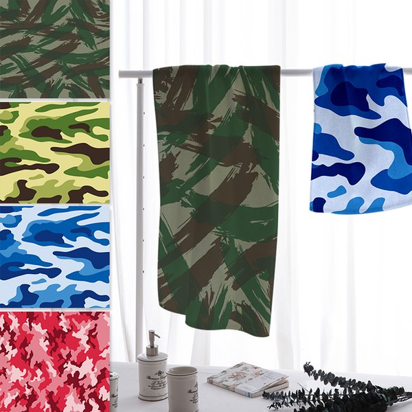 wholesale Microfiber Camouflage Geometric Print Beach Towel Super Quickdrying Outside Plant Bath Blanket Sports Cover for Adults