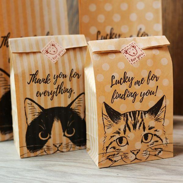 Cat Kraft bag,Gift wraping bag, food bag, snack bread bag,Party Favor Bag 30pcs/lot