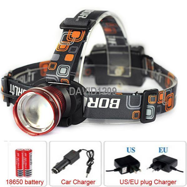 NEW Design Headlight CREE XML XM-L T6 LED 2000 Lumens 3 Mode Waterproof Zoom Focus Front Light LED Headlamp & 2*Chargers+battery