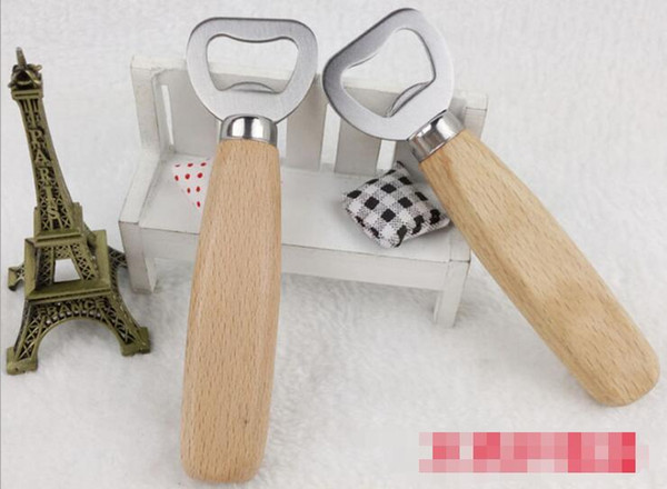 Kitchen Stainless steel Bottle Opener Tools Wooden Handle Beer Bar Tools Soda Beer Bottle Cap Wine Bottle Opener
