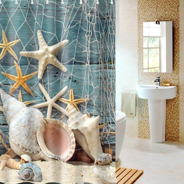 Wholesale-3D Printed Flower Bathing Curtain Starfish Sea Pattern Fabric Shower Blocking