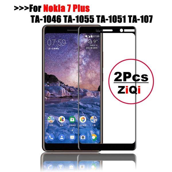 ZiQi 2Pcs For 7 Plus glass tempered full cover película protectora de pantalla principal Para 7 7 Plus 9h Borrar en pantalla completa