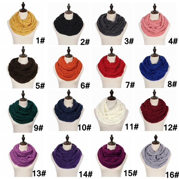 Knitted Circle Loop Scarf Crochet knit Neck Ring Scarf With logo Women Winter Wool Wrap Scarves Thick Warmer Scarf 25Colors 2000pcs AAA1452