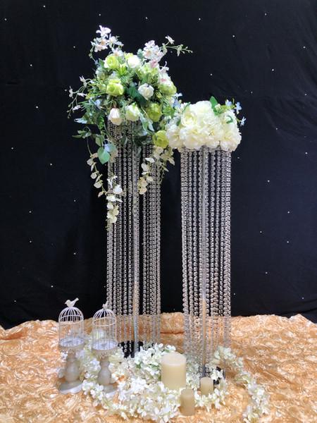 2018 crystal wedding road lead Flower Vase Led Light decoration stand Corridor aisle crystal wedding holder centerpiece event party decor