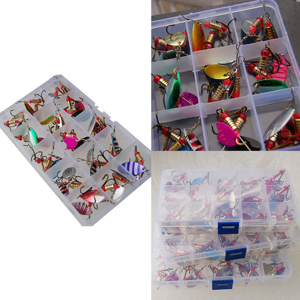 30pcs/set High Quality Assorted Fishing Lures Metal Fishing Baits Bass Spoon Spinner Baits with Sharp Fishing Tackles Box