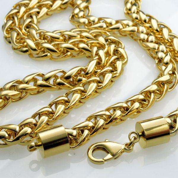 18K 18K Gold Filled Hommes Tressé 60cm Longueur Chaîne Lourde Chaîne Collier N49