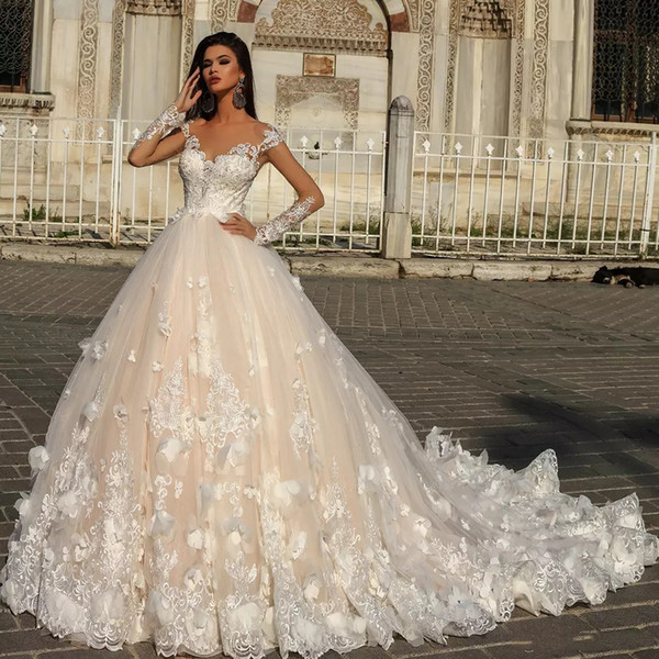 Discount Custom Sheer Long Sleeves Lace Wedding Dresses 2020 With Floral Appliques Court Train A Line Wedding Bridal Gowns Wedding Dress Es A Line