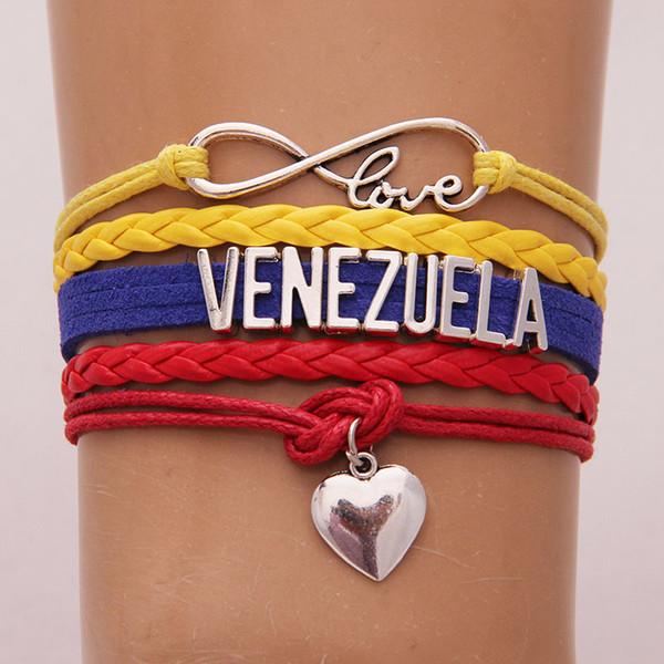 Infinito Amor Venezuela Pulseira Coração Charme Envoltório Corda Pulseiras Pulseiras para Mulheres Homens País Hometown Presente