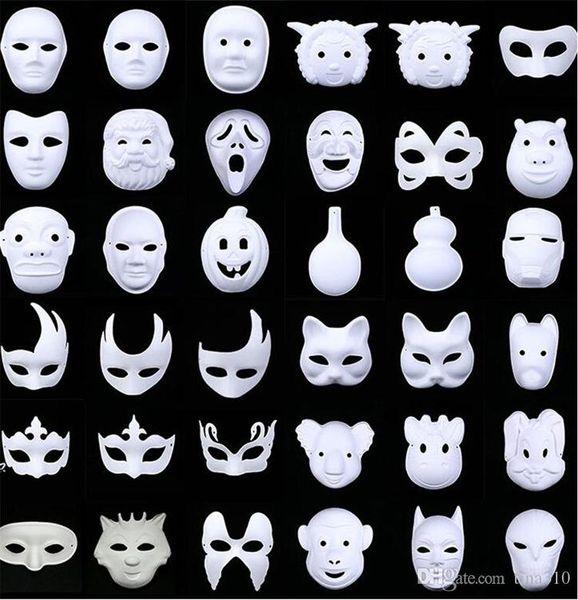New White Unpainted Face Plain Blank Version Pasta di carta Maschera fai da te Masquerade Masque Mask 1000pcs IB382