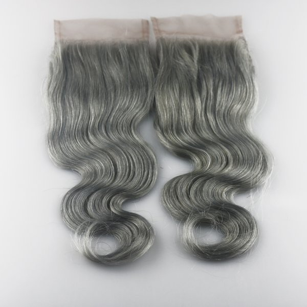 Hot selling 4x4 Grey# Lace Closure Human Hair Brazilian human Virgin Hair Body Wave Swiss Lace closure