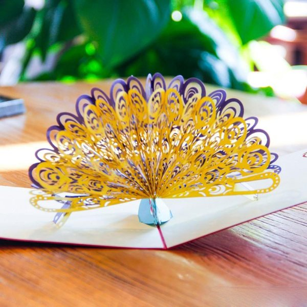 3D Hollow Peacock pop up greeting card laser cutting Retro envelopes postcard hollow carved handmade Thank you invitation card Free shipping