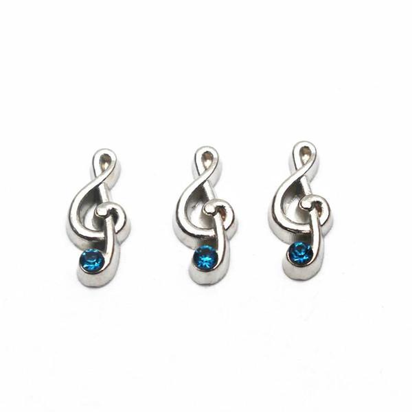 10 pcs / lot Argent Music Note Strass Flottant Charms Pour Living Glass Flottant Lockets Pendentif Collier DIY Jewelry Making