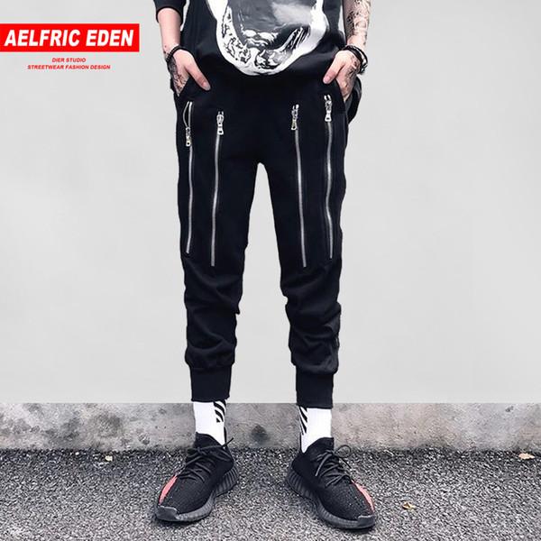 Aelfric Eden Erkek Sweatpants Jogger 2018 Fermuar Tasarım Hip Hop Moda Baggy Streetwear Joggers Slim Fit Casual Harem Pantolon ZY28