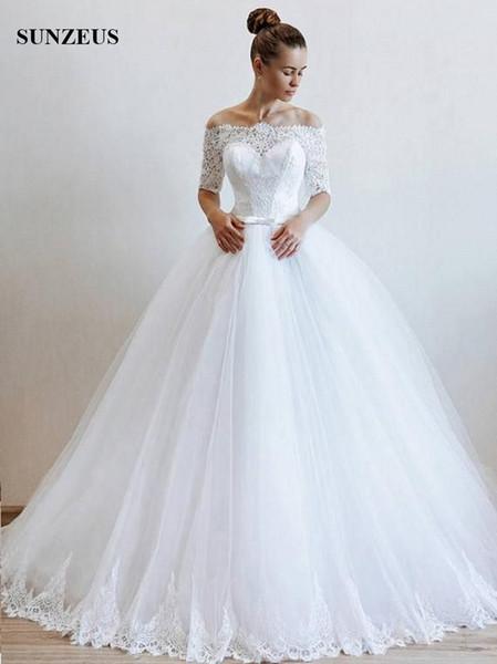 Vestido De Noiva Modelos Bateau Decote Fora Do Ombro Meia Manga Vestidos De Noiva Vestido De Baile De Renda Corpete Longo De Tule Vestido De Noiva