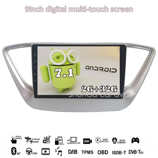 SHUNDA HD Android 7.1 T3 2G +16G 9inch for Hyundai Solaris Accent Verna car dvd player with 3G 4G WIFI GPS radio BT map