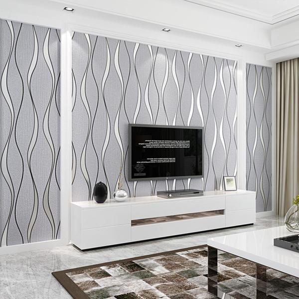 Großhandel Moderne Einfache 3D Stereo Streifen Welle Tapete Wohnzimmer TV  Sofa Schlafzimmer Wohnkultur Vlies Beflockung Tapeten Für Wände 3 D Von ...
