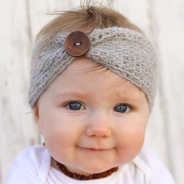 New Handmade Baby Knitting Crochet Headband Fashion Boys Girls Headbands Ear Warmer With Button Children Hair Accessories