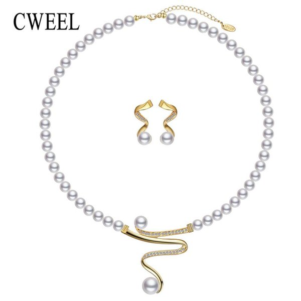 whole saleCWEEL Wedding Jewelry Sets Simulated Pearl Jewellery Sets For Women Fashion African Beads Jewelry Set Statement Necklace Set