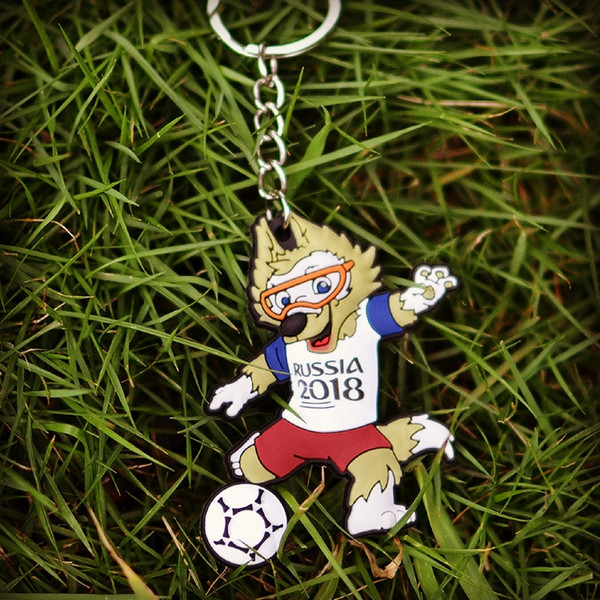 2018 futbol oyunu maskot anahtarlık kurt tekme topu top cheer rozeti dört anahtarlık iyi hatıra hediye anahtarlık araba çantası anahtarlık