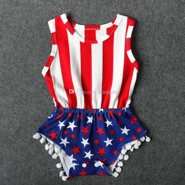Baby American flag Rompers infant Stripes stars print Jumpsuits 2018 summer Boutique kids Climbing clothes C4099