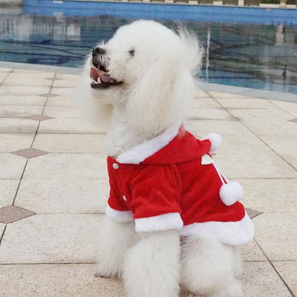 Christmas Red Dog Cat Hooded Hoodies Angel Wings Teddy Puppy Schnauzer Sweatshirts Apparel Autumn Winter Dog Sweaters