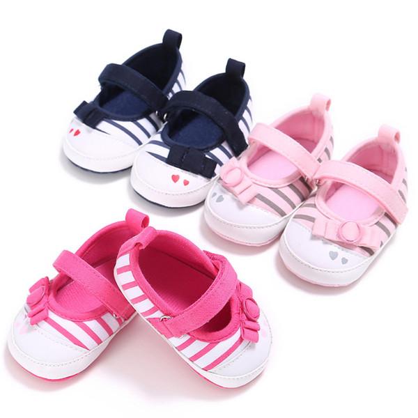 Bebek Kelebek-düğüm Çizgili Ayakkabı Bebek Kız Ayakkabıları Bebek Ilk Yürüyüşe Yenidoğan kaymaz Yumuşak Alt