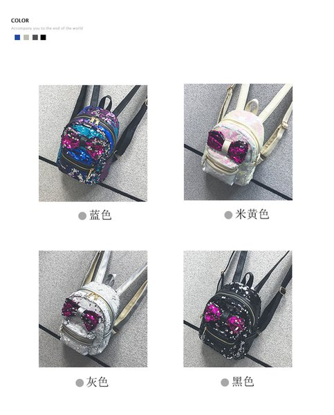 2018 Handbags New European and American Trends Sequins Wild Shoulder Bag Bow Leisure Travel Student Bag Female Backpack