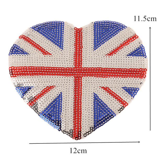 Sequin Embroidery Patch UK Flag Heart Sew Iron On Patches Embroidered Badges For Bag Jeans Hat T Shirt DIY Appliques Craft Decoration