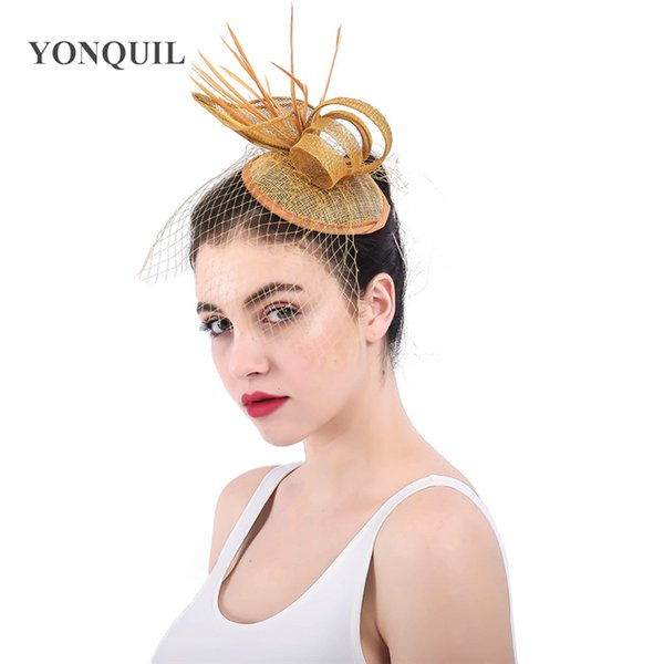 High quality gold sinamay base fascinators with Wine glass shape headwear wedding feather hair accessories cocktail hats SYF351