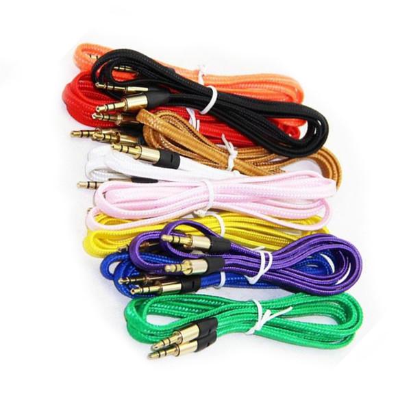 10 couleurs Nylon Braid AUX jack 3,5 mm câble mâle à mâle voiture Aux auxiliaire Cordon Jack stéréo Câble audio